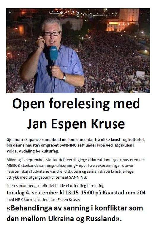 Invitasjonsplakat til opa forelesning med Jan Espen Kruse på Høgskulen i Volda